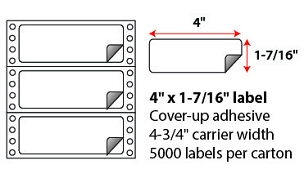 "4 X 1 7/16"" BLOCK-OUT PINFEED LABELS"