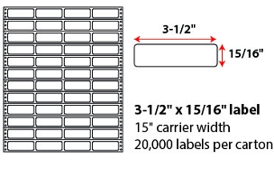 "3 1/2 X 15/16"" PINFEED LABELS"