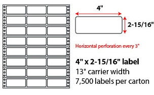 "4 X 2 15/16"" PINFEED LABELS"