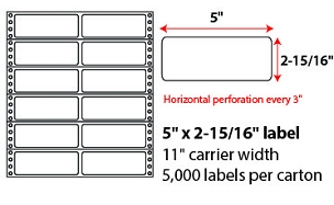 "5 X 2 15/16"" PINFEED LABELS"