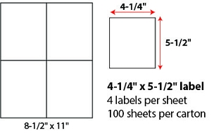 "4 1/4 X 5 1/2"" SHEETED LABELS"