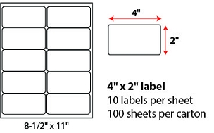 "4 X 2"" SHEETED LABELS"