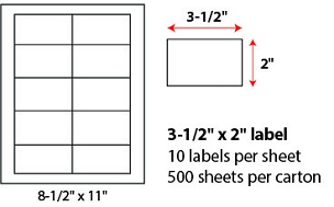 "3 1/2 X 2"" SHEETED LABELS"