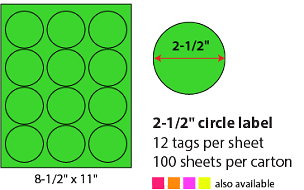 "2 1/2"" SHEETED CIRCLE LABELS - NEON GREEN"