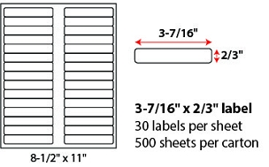 "3 7/16 X 2/3"" SHEETED LABELS"