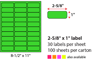"2 5/8 X 1"" SHEETED LABELS - NEON GREEN"
