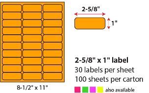 "2 5/8 X 1"" SHEETED LABELS - NEON ORANGE"