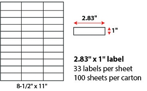 "2.83 X 1"" SHEETED LABELS"