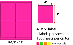 "4 X 5"" SHEETED LABELS - NEON PINK"