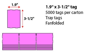 "1.9 X 3 1/2"" FANFOLD TRAY TAG - CHERRY"