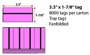 "3.3 X 1 7/8"" FANFOLD DIRECT THERMAL TRAY TAG - CHERRY"