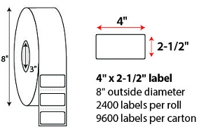 "4 X 2 1/2"" THERMAL TRANSFER LABELS"