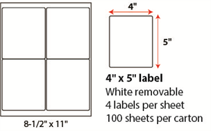 "4 X 5"" SHEETED - REMOVABLE WHITE"