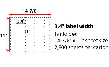 14 7/8 X 11' PINFEED LABELS