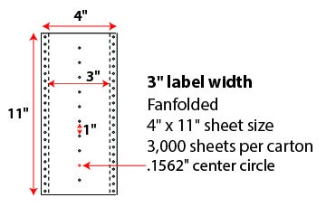 4 X 11' PINFEED LABELS