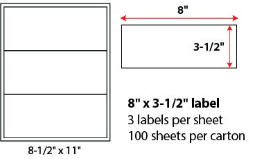 "8 X 3 1/2"" SHEETED LABELS"