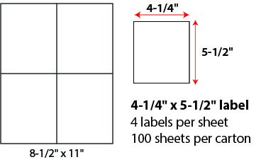 4 1/4 X 5 1/2' SHEETED LABELS