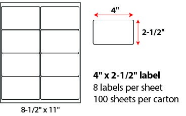 4 X 2 1/2' SHEETED LABELS
