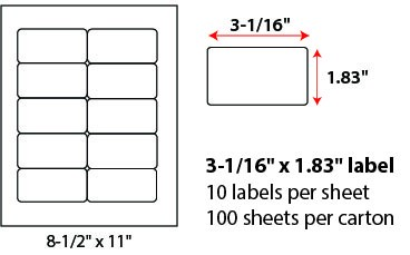 3 1/16 X 1.83' SHEETED LABELS
