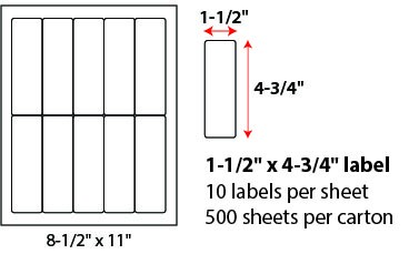 1 1/2 X 4 3/4' SHEETED LABELS
