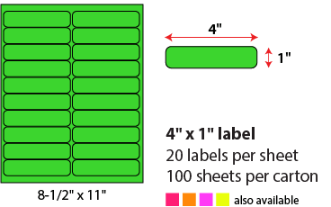 4 X 1' SHEETED LABELS - NEON GREEN