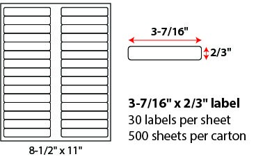 "3 7/16 X 2/3"" SHEETED LABEL"
