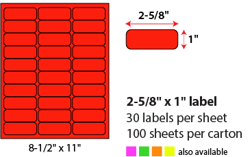 "2 5/8 X 1"" SHEETED LABEL - NEON RED"