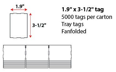 1.9 X 3.4' FANFOLD TRAY TAG- WHITE