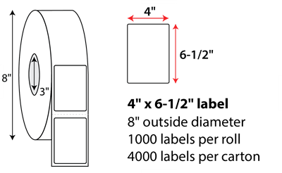 "4 X 6 1/2"" THERMAL TRANSFER LABEL"