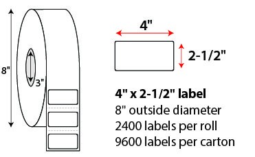 4 X 2 1/2' THERMAL TRANSFER LABELS