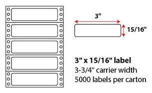 "3 X 15/16"" PINFEED LABELS"