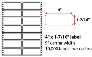 4x1.4375 Inch Pinfeed Labels