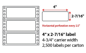 "4 X 2 7/16"" PINFEED LABELS"