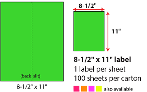 "8 1/2 X 11"" SHEETED LABELS - NEON GREEN"