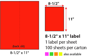 "8 1/2 X 11"" SHEETED LABELS -  NEON RED"
