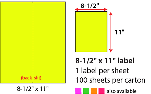 "8 1/2 X 11"" SHEETED LABELS - NEON YELLOW"