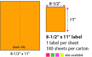 "8 1/2 X 11"" SHEETED LABELS - NEON ORANGE"