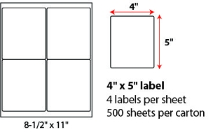 "4 X 5"" SHEETED LABELS"