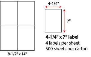 "4 1/4 X 7"" SHEETED LABELS"