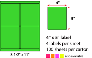 "4 X 5"" SHEETED LABELS - NEON GREEN"