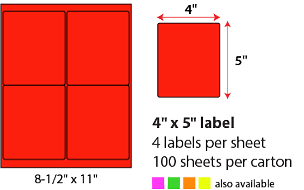 "4 X 5"" SHEETED LABELS - NEON RED"