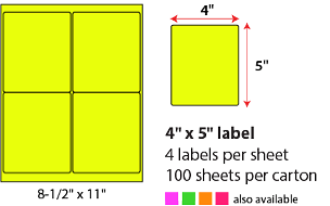 "4 X 5"" SHEETED LABELS - NEON YELLOW"