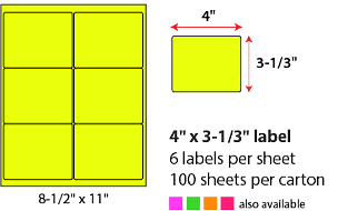 "4 X 3 1/3"" SHEETED LABELS - NEON YELLOW"