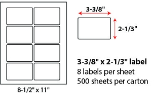 "3 3/8 X 2 1/3"" SHEETED LABELS"