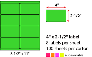 "4 X 2 1/2"" SHEETED LABELS - NEON GREEN"