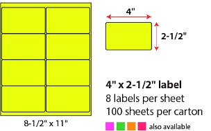 "4 X 2 1/2"" SHEETED LABELS - NEON YELLOW"