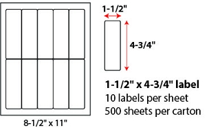 "1 1/2 X 4 3/4"" SHEETED LABELS"