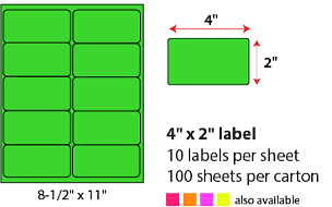 "4 X 2"" SHEETED LABELS - NEON GREEN"