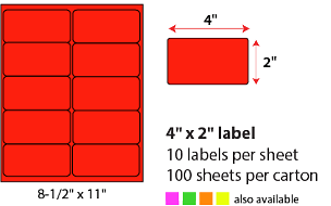 "4 X 2"" SHEETED LABELS - NEON RED"