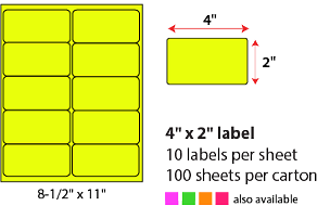 "4 X 2"" SHEETED LABELS - NEON YELLOW"